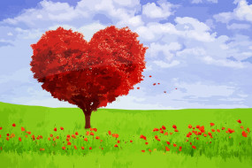 обои для рабочего стола 1920x1280 векторная графика, природа , nature, дерево, сердце, пейзаж, любовь, валентина, чувства, настроение, романтический