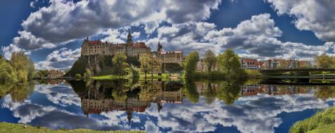 города, замки германии, замок, зигмаринген, здание, архитектура, германия, баден, вюртемберг
