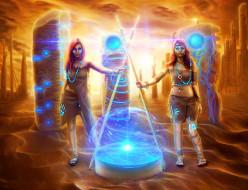 фэнтези, девушки, фон, взгляд, портал, магия, копье