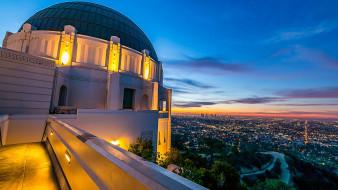 обои для рабочего стола 1920x1080 города, лос-анджелес , сша, пейзаж, город, городской, вид, облака, небо, свет, ночь, горизонт, обсерватория, гриффит, парк, калифорния