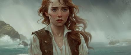 рисованное, люди, девушка, фон, дождь, корабль