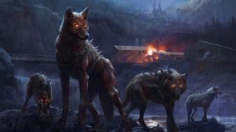 обои для рабочего стола 2048x1152 фэнтези, оборотни, волки, деревня, пожар, река, мост
