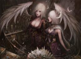 фэнтези, ангелы, девушки, фон, взгляд, униформа, крылья