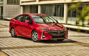 2020 toyota prius, автомобили, toyota, prius, prime, электромобили, plug-in, hybrid, 2020, года, hdr, красный, японские