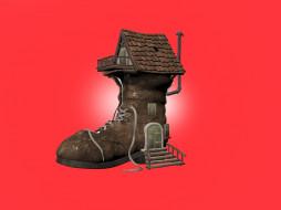 креатив, ботинок, домик