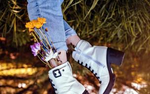 женские, ножки, ботиночки, цветы