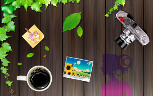 листья, чашка, фотография, фотоаппарат, девушка