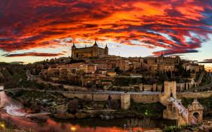 города, толедо , испания, закат, панорама