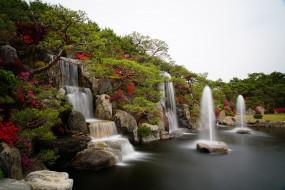 природа, водопады, азалия, водопад, сад, пруд, воды