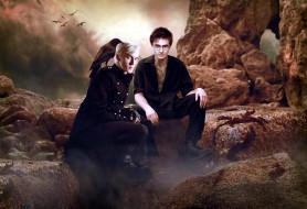 Драко Малфой, Гарри Поттер, ворон, скалы