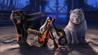 аниме, животные,  существа, девушка, фон, пулемет, пантера, тигр, взгляд