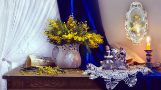 цветы, мимоза, зеркало, букет, свеча