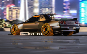 nissan skyline gt-r r34, автомобили, 3д, nissan, skyline, gtr, r34, godzilla, годзилла, japan, японская, legend, легенда