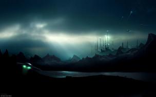 город, ночь, горы, озеро, летательные аппараты