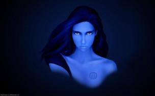 девушка, лицо, синяя