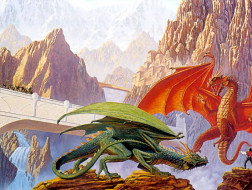 фэнтези, драконы, скалы, мост