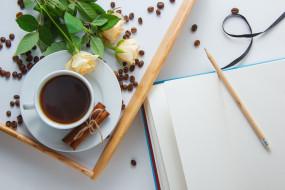 еда, кофе,  кофейные зёрна, розы, зерна, корица