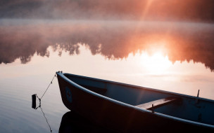 река, закат, лодка, туман