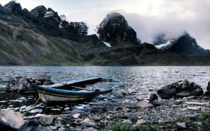горы, лодка, море