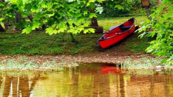 река, берег, лодка, деревья