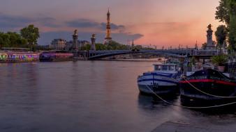 города, париж , франция, река, башня, мост