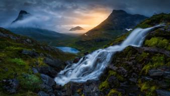 природа, водопады, долина, ромсдален, норвегия