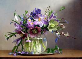 цветы, букеты,  композиции, ирис, крокусы, геллеборус