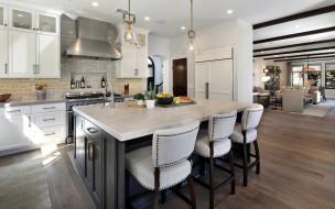 интерьер, кухня, плита, стол, стулья