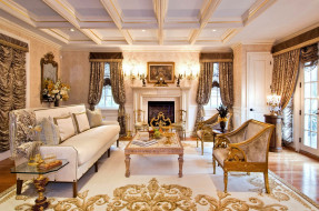 интерьер, гостиная, ковер, диван, камин