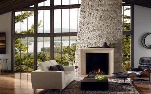 интерьер, камины, камин, кресло