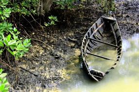 корабли, лодки,  шлюпки, затопленная, лодка