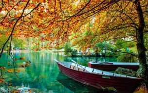 корабли, лодки,  шлюпки, озеро, осень