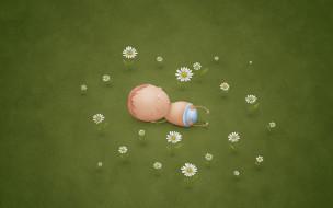рисованное, vladstudio, ребенок, поляна, цветы