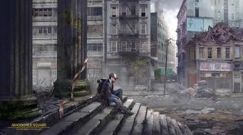 фэнтези, иные миры,  иные времена, человек, город, ступени, колонны, развалины