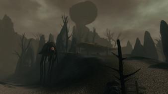видео игры, the elder scrolls iii,  morrowind, монстр, деревья, скалы, беседка