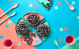 еда, пирожные,  кексы,  печенье, кексы, черника