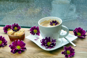 еда, кофе,  кофейные зёрна, кекс, хризантемы