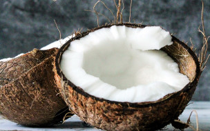 еда, кокос, мякоть, половинки