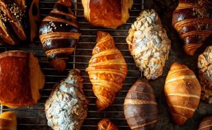 еда, хлеб,  выпечка, круассаны
