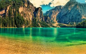 lago di braies, south tyrol, italy, природа, реки, озера, lago, di, braies, south, tyrol