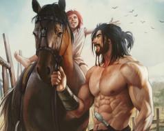 рисованное, aenaluck, мужчина, борода, меч, лошадь, девочка