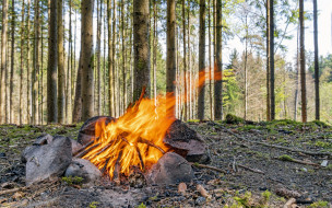природа, огонь, костер