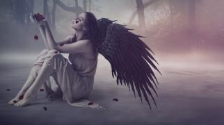 фэнтези, фотоарт, девушка, фон, крылья