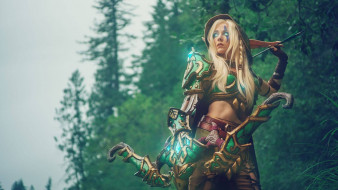 костюм, лучница, лес, эльф, Алерия, World of Warcraft