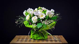 розы, тюльпаны, герберы