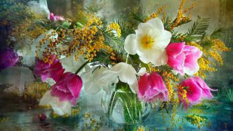 цветы, букеты,  композиции, мимоза, тюльпаны