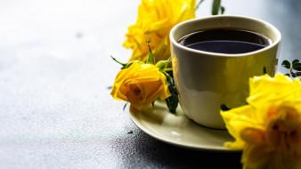 еда, кофе,  кофейные зёрна, розы