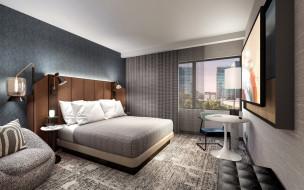 обои для рабочего стола 2560x1600 интерьер, спальня, кровать, телевизор