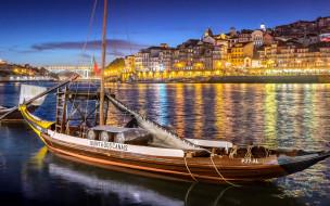 корабли, парусники, река, вечер, огни, парусник