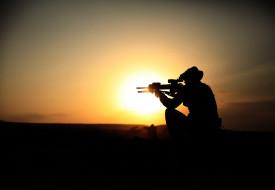 мужчины, солдат, закат, оружие, винтовки, силуэт